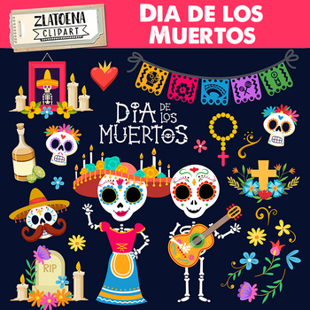 Day Of The Dead Clip Art Dia De Los Muertos Graphics Fiesta Clipart Mexico