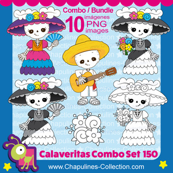 Day of the dead clipart Bundle, color and black & white, skeleton Set 150