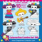 Day of the dead clipart Bundle, color and black & white, s