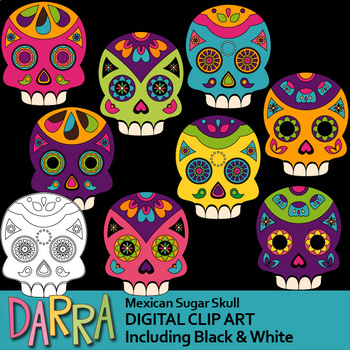 Day of the dead clipart / Mexican Sugar Skull Clip Art