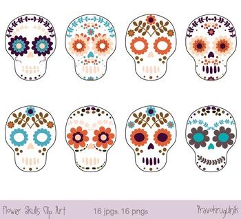 Day of the dead skull, Sugar skull clip art, Halloween clipart, Flower skull