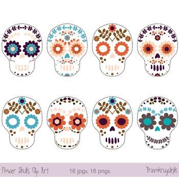 Day of the dead skull, Sugar skull clip art, Halloween cli