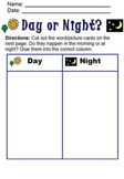 Day or Night Cut & Paste Activity; Life Skills; Boardmaker