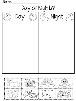 day or night worksheet by ppcdwithmrspatterson tpt. Black Bedroom Furniture Sets. Home Design Ideas