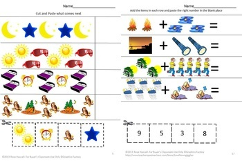Special Education Math Kindergarten Day and Night Math & Literacy Cut and Paste