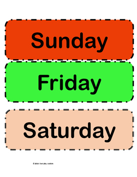 Day's of the Week Calendar words