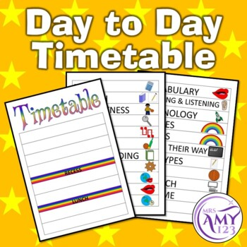 Daily Visual Timetable - For Student Desk or Class Display