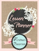 Daybook Lesson Planner 2017 - 2018 (Burlap Lace & Roses + Bonus Black & White)