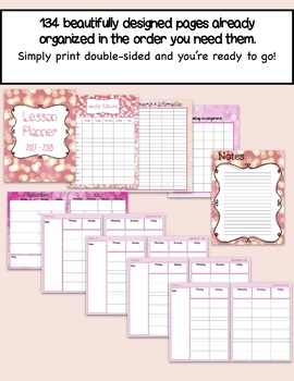 Daybook Lesson Planner 2017 - 2018 (Pink Sparkle + Bonus Black and White)