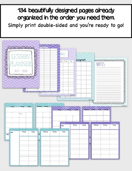 Daybook Lesson Planner 2017 - 2018 (Purple and Teal Chevron + Black and White)