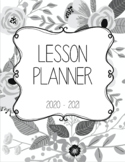 Daybook Lesson Planner 2020 - 2021 (Black and White Floral)