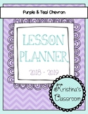 Daybook Lesson Planner 2018 - 2019 (Purple and Teal Chevron)