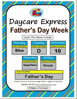 Daycare Curriculum (Father's Day) Letter D, Shape Circle, Color Blue, Number 10