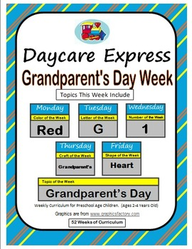 Daycare Curriculum (Grandparents) Letter G, Shape Heart, Color Red, Number 1