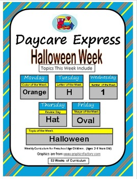 Daycare Curriculum (Halloween) Letter H, Shape Oval, Color Orange, Number 1