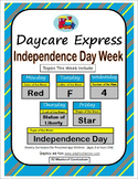 Daycare Curriculum (Independence Day) Letter F, Shape Star, Color Red, Number 4