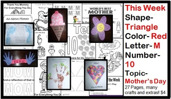 Daycare Curriculum (Mother's Day) Letter M, Shape Triangle, Color Red, Number 10