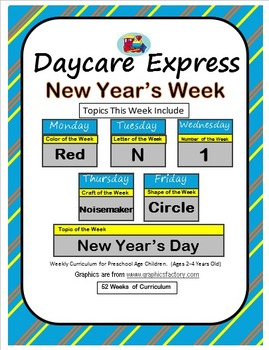Daycare Curriculum (New Years) Letter N, Shape Circle, Color Red, Number 1