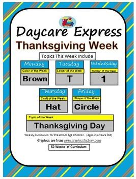 Daycare Curriculum (Thanksgiving) Letter T, Shape Circle, Color Brown, Number 1
