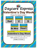 Daycare Curriculum (Valentine's Week) Letter V, Shape Heart, Color Red, Number 5