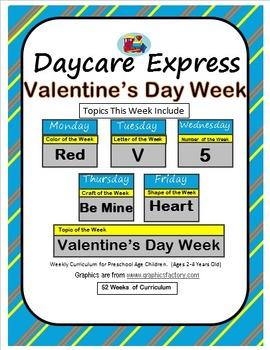Daycare Curriculum (Valentine's Week) Letter V, Shape Heart, Color Red, Number 5
