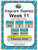 Daycare Curriculum (Week 11)  Letter T, Shape Diamond, Color Red, Number 1