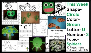 Daycare Curriculum (Week 13)  Letter U, Shape Circle, Color Green, Number 3