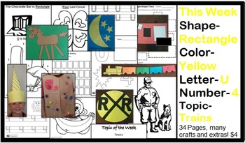 Daycare Curriculum (Week 14) Letter U, Shape Rectangle, Color Yellow, Number 4