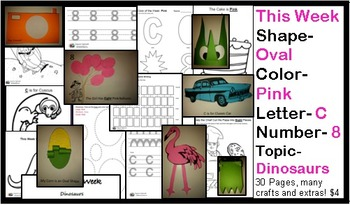 Daycare Curriculum (Week 18) Letter C, Shape Oval, Color Pink, Number 8