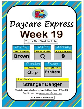 Daycare Curriculum (Week 19) Letter Q, Shape Pentagon, Color Brown, Number 9