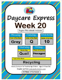 Daycare Curriculum (Week 20) Letter Q, Shape Hexagon, Color Grey, Number 10