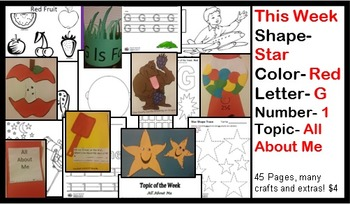 Daycare Curriculum (Week 21) Letter G, Shape Star, Color Red, Number 1