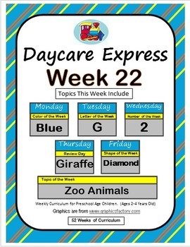 Daycare Curriculum (Week 22) Letter G, Shape Diamond, Color Blue, Number 2