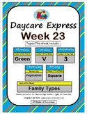 Daycare Curriculum (Week 23) Letter V, Shape Square, Color Green, Number 3