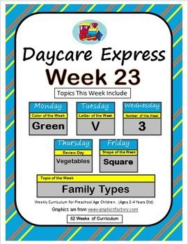 Daycare Curriculum (Week 23) Letter V, Shape Square, Color Green, Number 3
