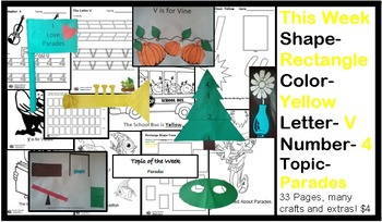 Daycare Curriculum (Week 24) Letter V, Shape Rectangle, Color Yellow, Number 4