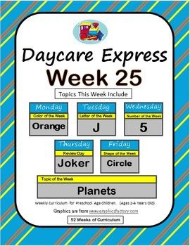 Daycare Curriculum (Week 25) Letter J, Shape Circle, Color Orange, Number 5