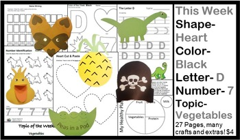 Daycare Curriculum (Week 27) Letter D, Shape Heart, Color Black, Number 7