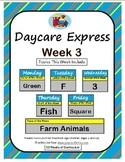 Daycare Curriculum (Week 3) Letter F, Shape Square, Color Green, Number 3