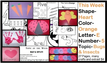 Daycare Curriculum (Week 5) Letter E, Shape Heart, Color Orange, Number 5