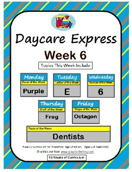 Daycare Curriculum (Week 6) Letter E, Shape Octagon, Color Purple, Number 6