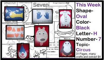 Daycare Curriculum (Week 7) Letter H, Shape Oval, Color Black, Number 7
