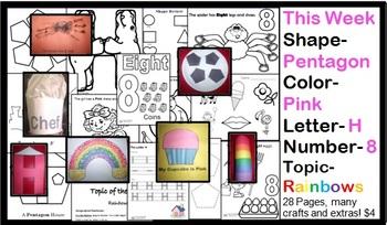 Daycare Curriculum (Week 8) Letter H, Shape Pentagon, Color Pink, Number 8