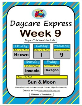 Daycare Curriculum (Week 9) Letter I, Shape Hexagon, Color Brown, Number 9