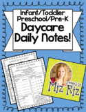 Daycare Daily Notes! {Infant/Toddler/Preschool/Pre-K!}
