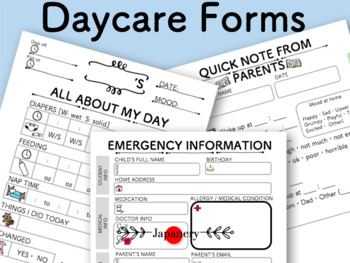 image regarding Printable Daycare Forms named Daycare Everyday Article Kind/ Unexpected emergency Get in touch with Variety/ Daycare Novice Package Printable