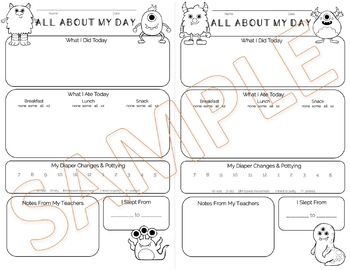 Daycare Daily Sheet - Monster Theme