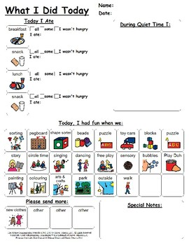 Daycare Home to Daycare Communication Sheet