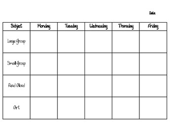 Daycare Lesson Plan Template Core Four By Samantha Howse Tpt