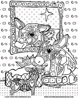 Nativity Coloring Pages: Daydreams And Doodles by Kat Ford | TpT
